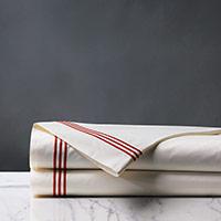Tessa Satin Stitch Flat Sheet in Ivory/Scarlet