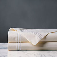 Tessa Satin Stitch Flat Sheet in Ivory/White