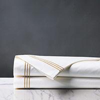 Tessa Satin Stitch Flat Sheet in White/Bisque