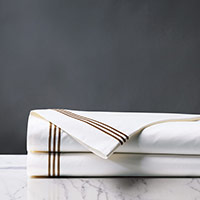 Tessa Satin Stitch Flat Sheet in White/Brown