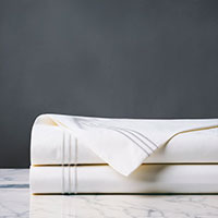Tessa Satin Stitch Flat Sheet in White/White