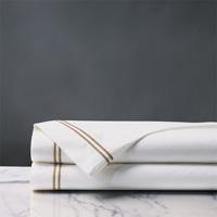Enzo Satin Stitch Flat Sheet in Antique