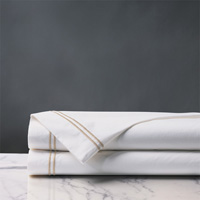 Enzo Satin Stitch Flat Sheet in Bisque