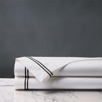 Enzo Satin Stitch Flat Sheet in Black