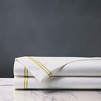 Enzo Satin Stitch Flat Sheet in Daffodil