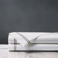 Enzo Satin Stitch Flat Sheet in Dove