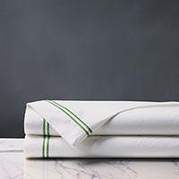 Enzo Satin Stitch Flat Sheet In Emerald