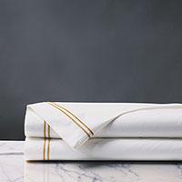 Enzo Satin Stitch Flat Sheet in Gold