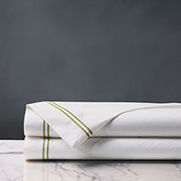 Enzo Satin Stitch Flat Sheet in Lime