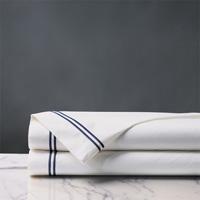 Enzo White/Navy Flat Sheet