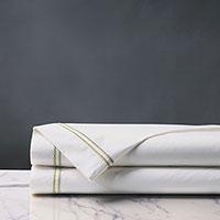 Enzo Satin Stitch Flat Sheet In Pear
