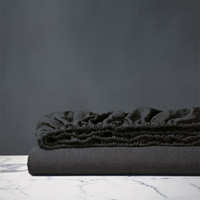 Shiloh Linen Fitted Sheet in Charcoal