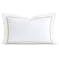 Linea Velvet Ribbon King Sham In White & Aloe
