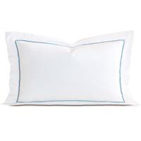 Linea Velvet Ribbon King Sham In White & Azure
