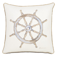 Maritime Hand Painted Ship'S Wheel Accent Pillow In Ivory