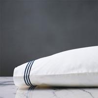 Tessa Satin Stitch Pillowcase in White/Navy