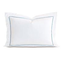 Linea Velvet Ribbon Queen Sham In White & Azure