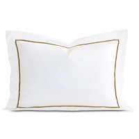 Linea Velvet Ribbon Queen Sham In White & Oliva