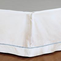 Linea Velvet Ribbon Bed Skirt In White & Azure