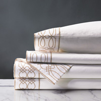 Nicola Embroidered Border Sheet Set in Wheat