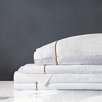 Linea Sheet Set In White & Antique