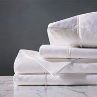 Linea Sheet Set In White & Ecru
