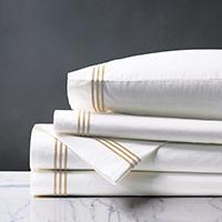 Tessa Satin Stitch Sheet Set in White/Bisque