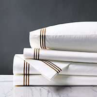Tessa Satin Stitch Sheet Set in White/Brown