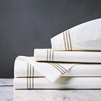 Tessa Satin Stitch Sheet Set in White/Sable