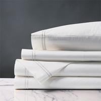 Enzo Satin Stitch Sheet Set in White