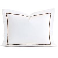 Linea Velvet Ribbon Standard Sham In White & Walnut