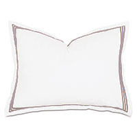 Tessa Satin Stitch Standard Sham in White/Sable